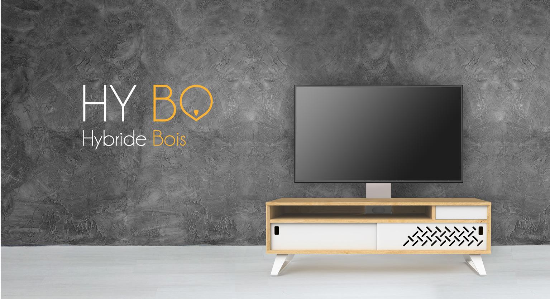 Meuble TV à colonne Hybo 130cm en chêne massif avec des pieds métal.