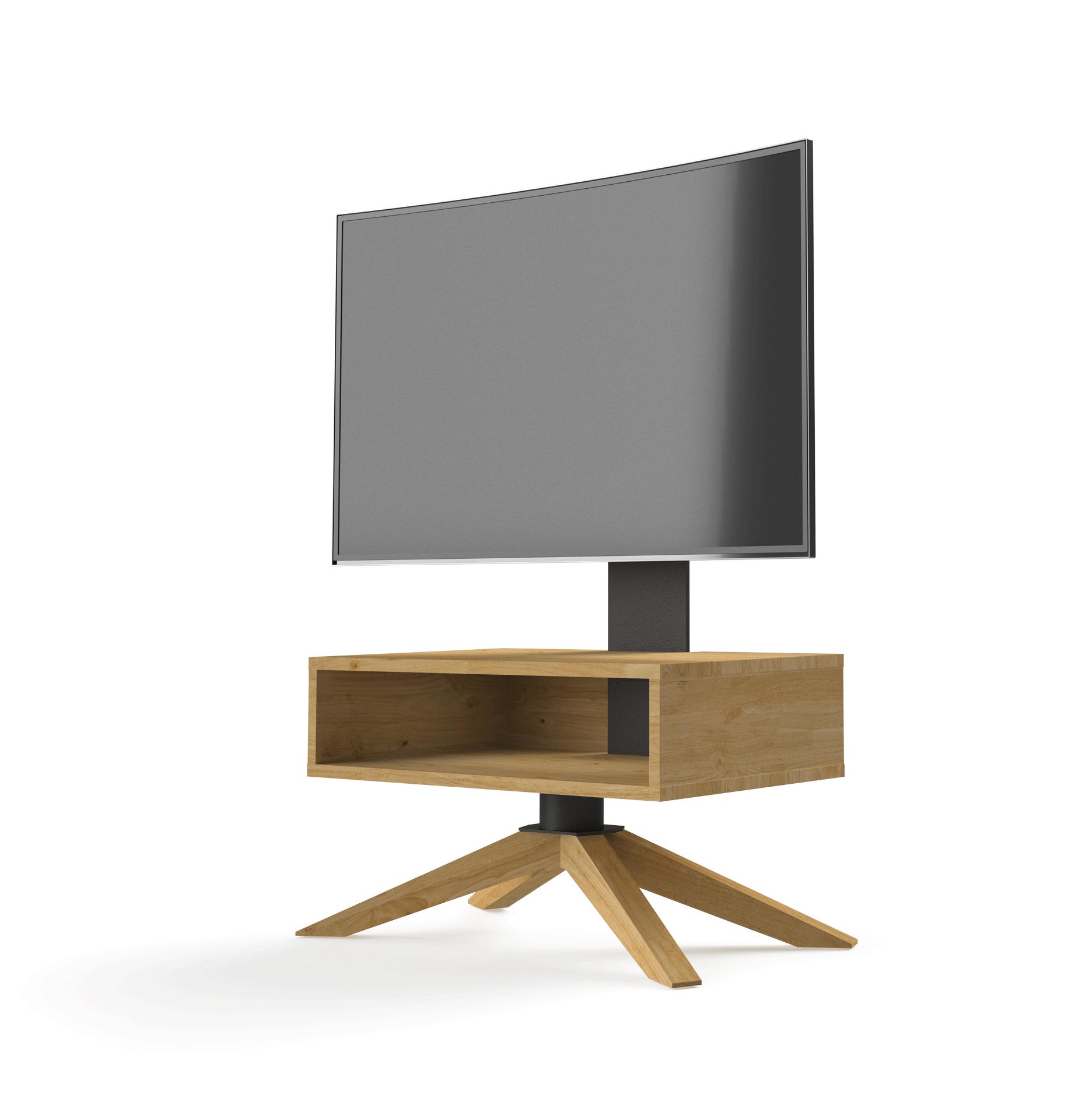 Petit meuble TV à colonne HyBo 72cm avec caisson et pieds en bois.